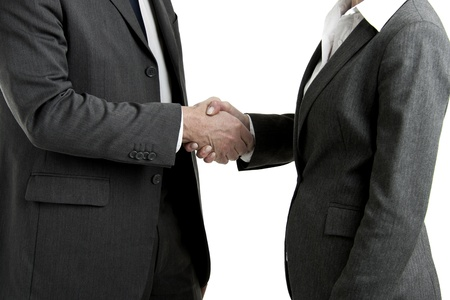 and the horizontal man: Businesspeople Shaking Hands, White Background Stock Photo