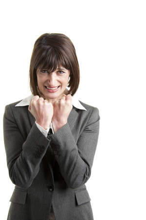 Determinated Businesswoman with hands raised photo