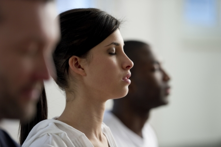 yoga meditation: People  meditating Stock Photo