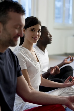 closed club: People  meditating Stock Photo