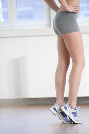 Close-up of beautiful female legs at gym Stock Photo - 8943340