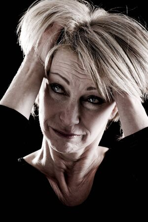 ooking: Mature Actress On Stage, facial expressions Stock Photo