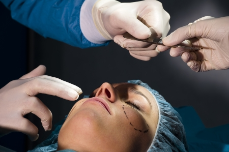 cosmetic surgery: Woman receiving Plastic Operation