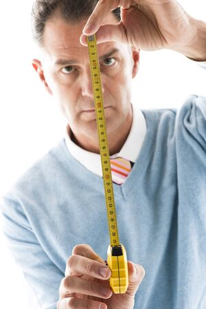 Man Measuring, close-up photo
