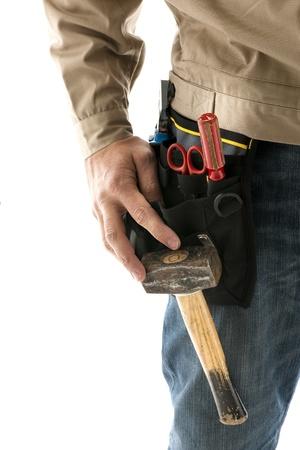 Portrait of a construction worker, close-up photo