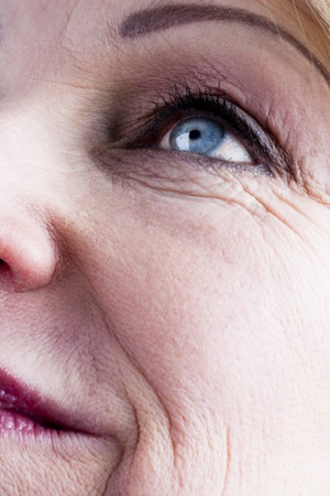wrinkles: Close-up of a mature woman face Stock Photo