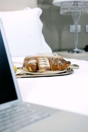 Hotel Breakfast And Laptop Stock Photo - 9260264