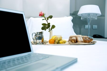 Hotel Breakfast And Laptop Stock Photo - 9260257