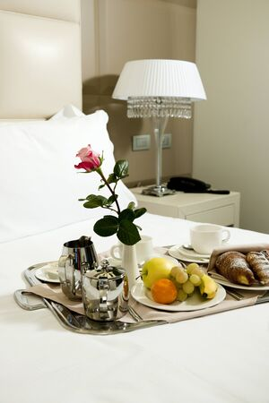 luxury hotel room: Breakfast Tray in Hotel Room