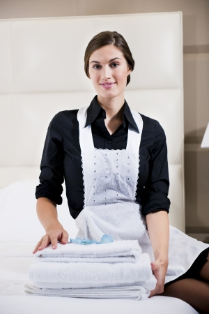 Portrait Of A Hotel Maid Stock Photo