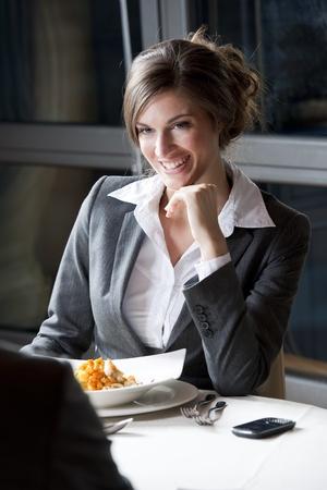 business dinner: Businesswoman at The Restaurant