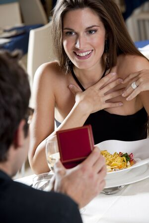 dating: Elegant Couple at The Restaurant, Valentines Day or Anniversary Stock Photo