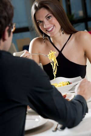 dating and romance: Elegant Couple at The Restaurant