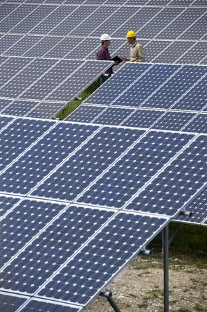Technicians inspection at Solar Power Station photo