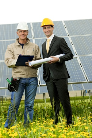 Technician and Engineer at Solar Power Station Stock Photo - 10813600