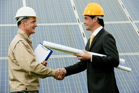 Technician and Engineer at Solar Power Station photo