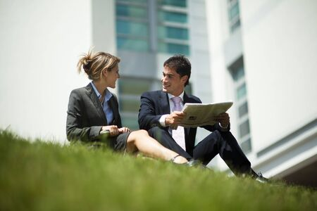 Businesspeople Having Break Outdoors photo