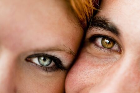 eye close up: Close-up of a young couple having fun Stock Photo