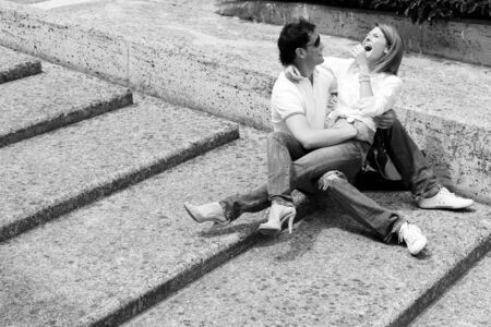 Beautiful and happy young couple in love having fun together photo