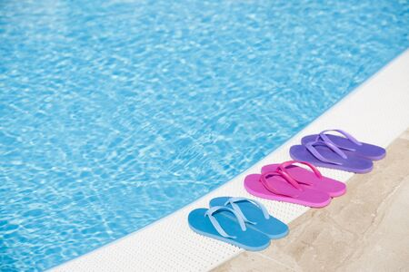 tourquoise: Colorful slippers by pool