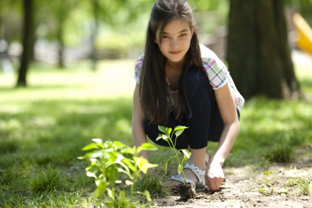 schooler: Little girl planting a tree, looking at camera