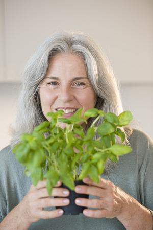 Portrait of senior woman holding basilicum Stock Photo