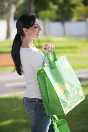 recycle bag: Beautiful young woman with reusable bags
