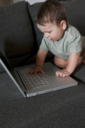 8-months baby using computer photo