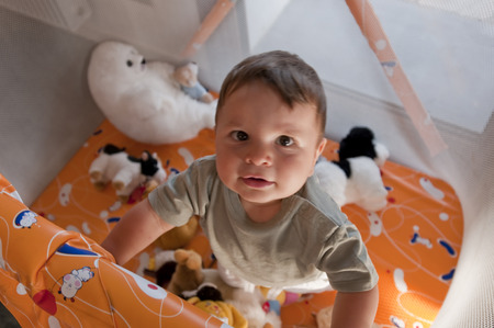 playpen: Portrait of a cute baby in playpen