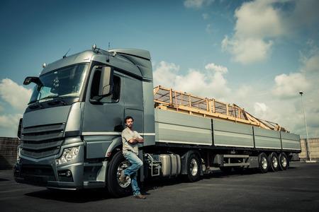 Portrait of a truck driver Standard-Bild