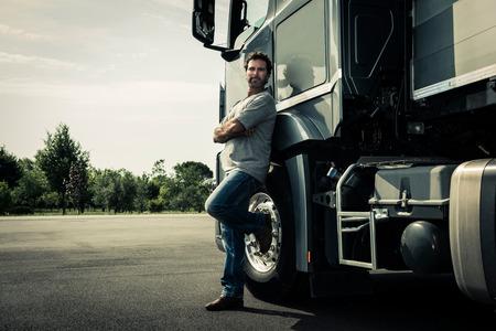 트럭 운전사의 초상화 스톡 콘텐츠