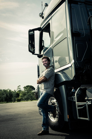 Portrait of a truck driver Stock Photo