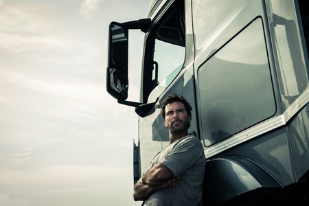 Portrait of a truck driver Stockfoto