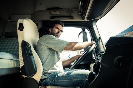 Portrait eines LKW-Fahrer Standard-Bild