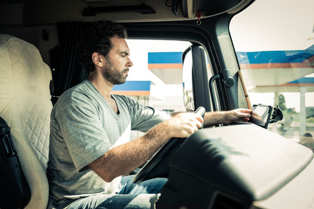 driver: Portrait of a truck driver Stock Photo
