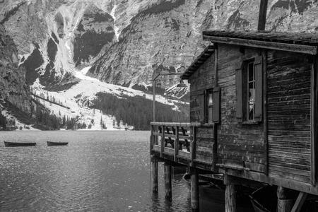 Pier at lake of braies in dolomites trentino alto adige Italy