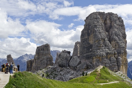 People visiting the  Cinque Torri  Dolomites in order to climb the protected paths made during the First World War  Banco de Imagens