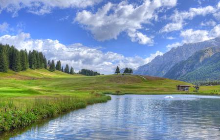 hdri: HDR Landscape mountains Lake in Italy Trentino Stock Photo