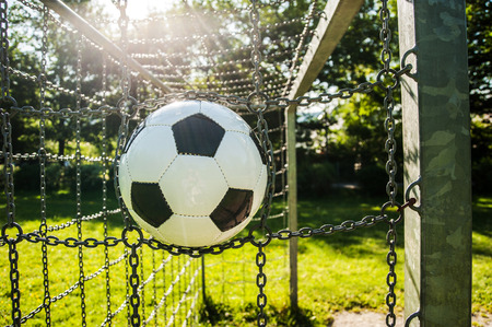soccer black and white ball cage soccer grass green outdoor