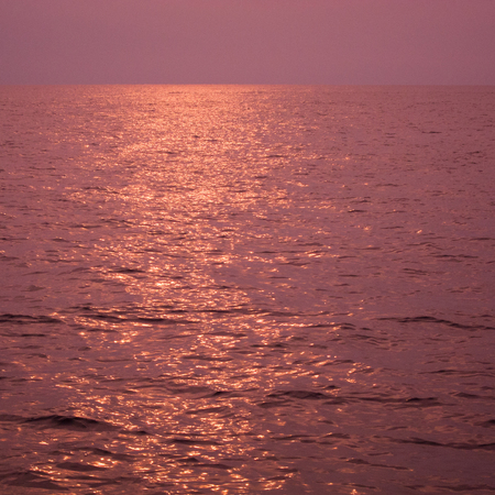 pink color on sunset at ocean