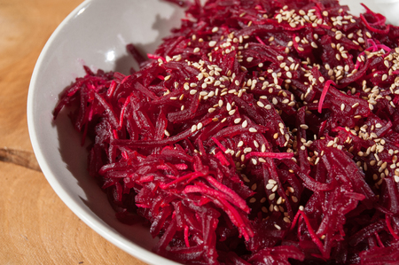 vegan cooking, beetroot on wooden background