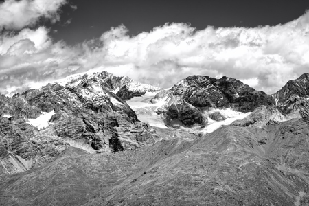 View of the Stelvio glacier, over the Alps between Lombardy and Trentino, Northern Italy Stock Photo