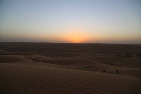 The colors of the sunset in the Wahiba desert