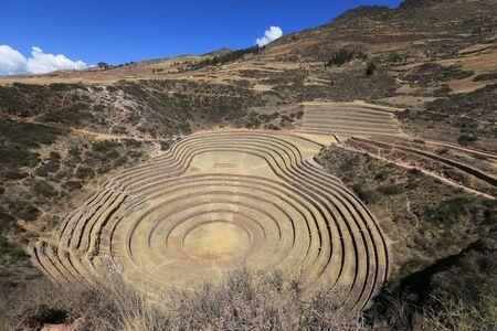Moray, the singular craters handmade by the Incas Foto de archivo