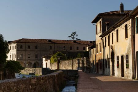 Italy, Vittorio Veneto, view Serravalle neighboord and its water channels