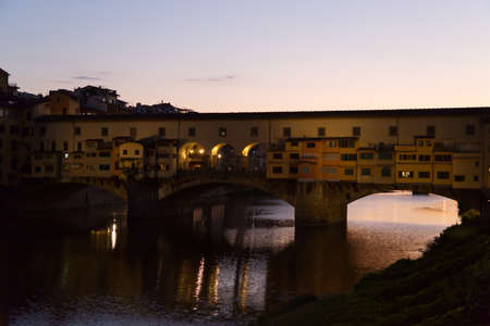 The sunset at the beautiful Ponte Vecchio in Florence