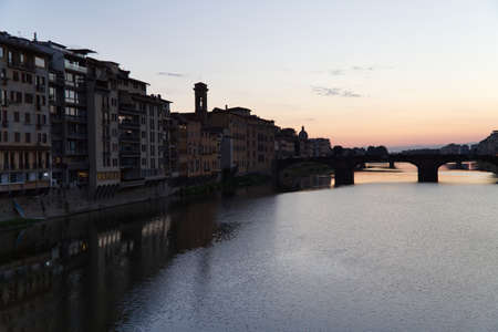 Sunset on the Arno river in Florence