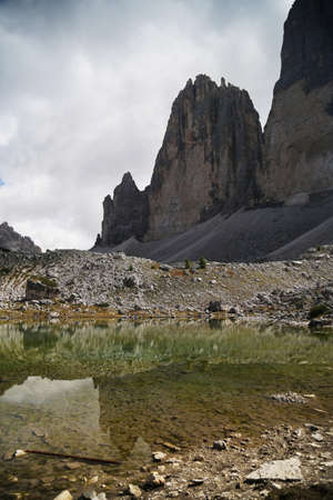 The north side of Three peaks of Lavaredo in the Italian Dolomites