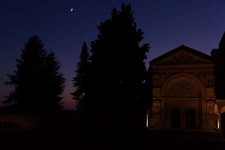 Sunset lights on the background of the Oratory of San Bernardino in the city of Perugia