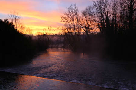 The sources of the Livenza river at sunrise